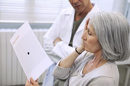 Woman with Amsler Grid AMD test